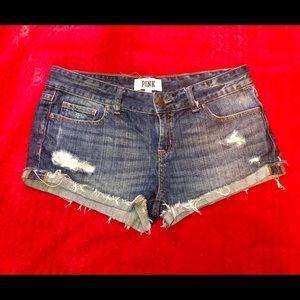 Pink Victoria Secret jean shorts. Size 6. NWOT